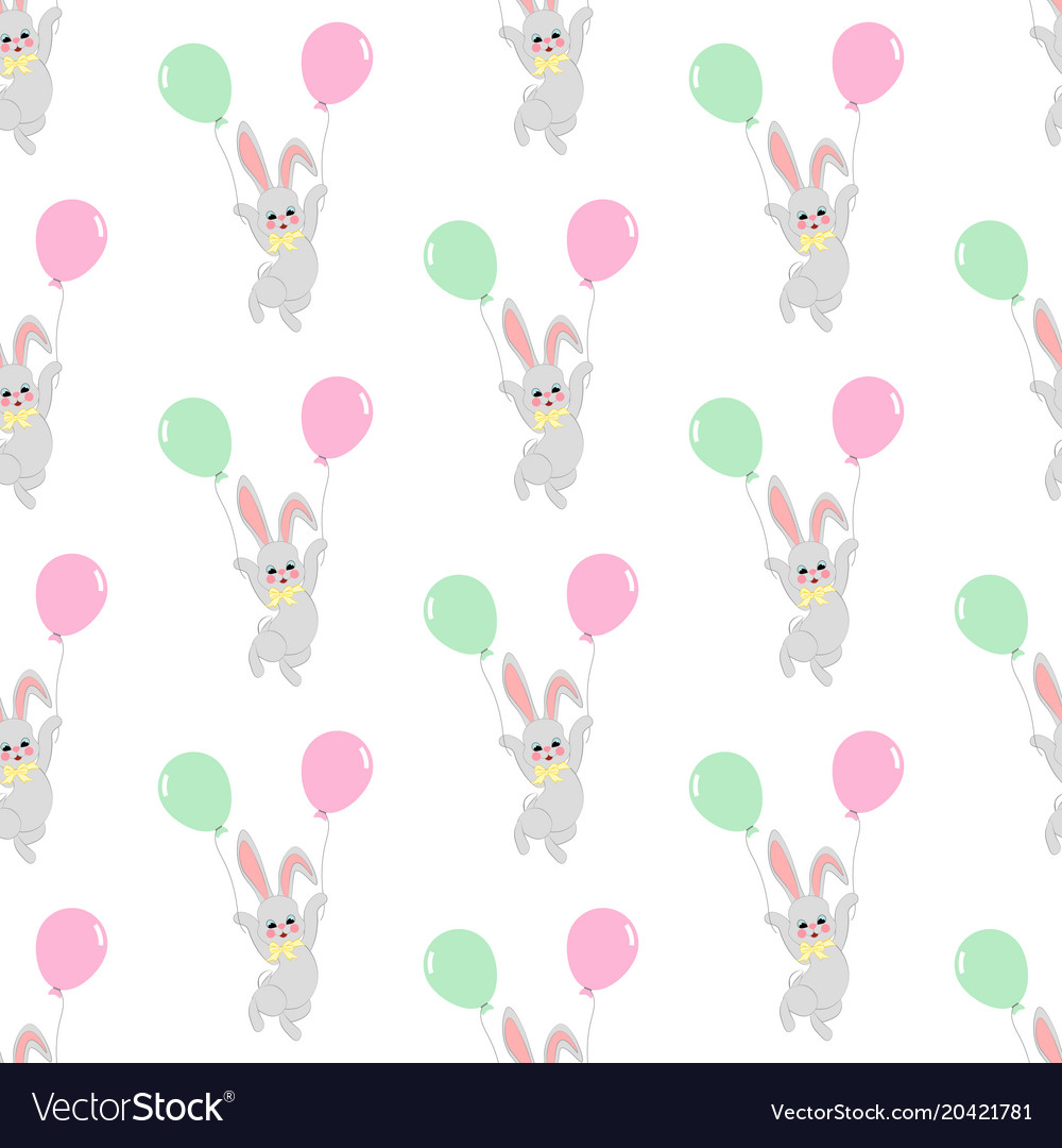 Easter bunny with balloons seamless pattern
