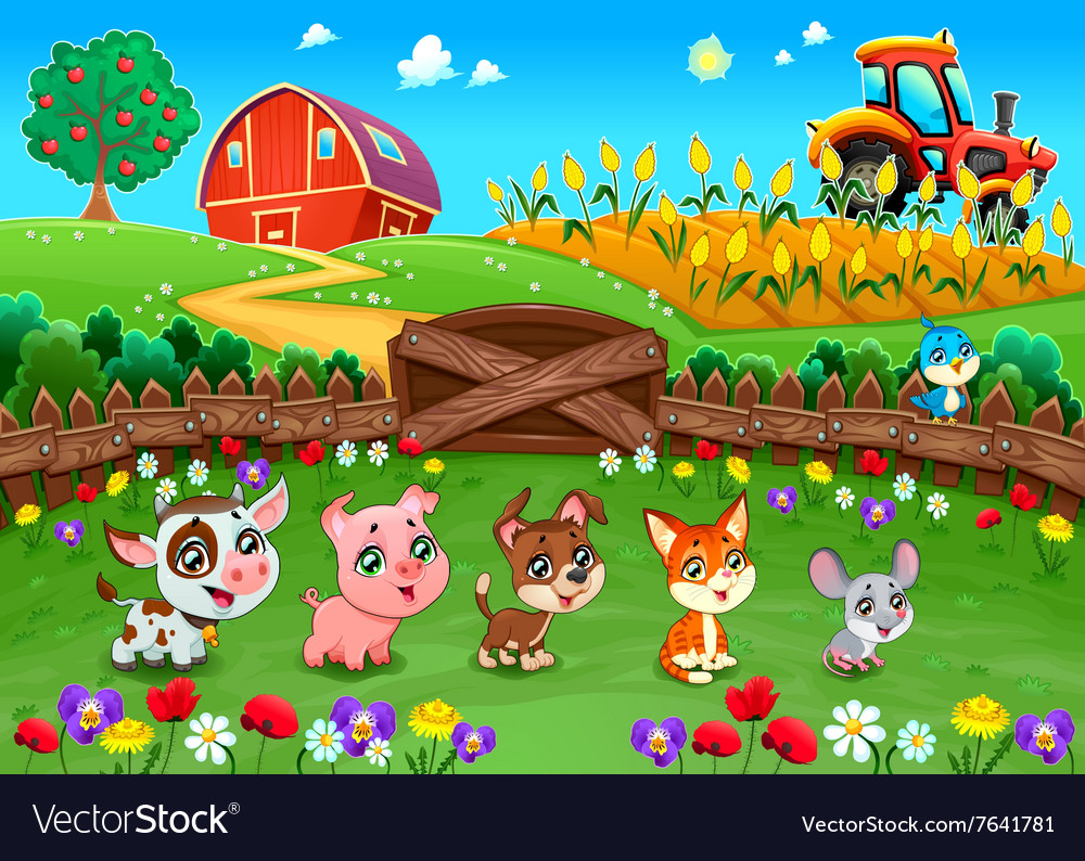 Funny landscape with farm animals vector image
