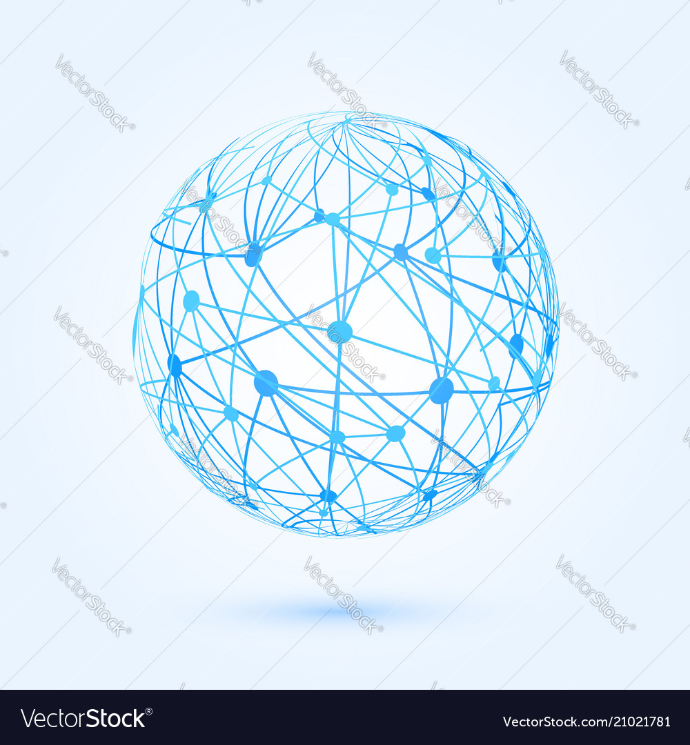 Global communication development wireframe vector image