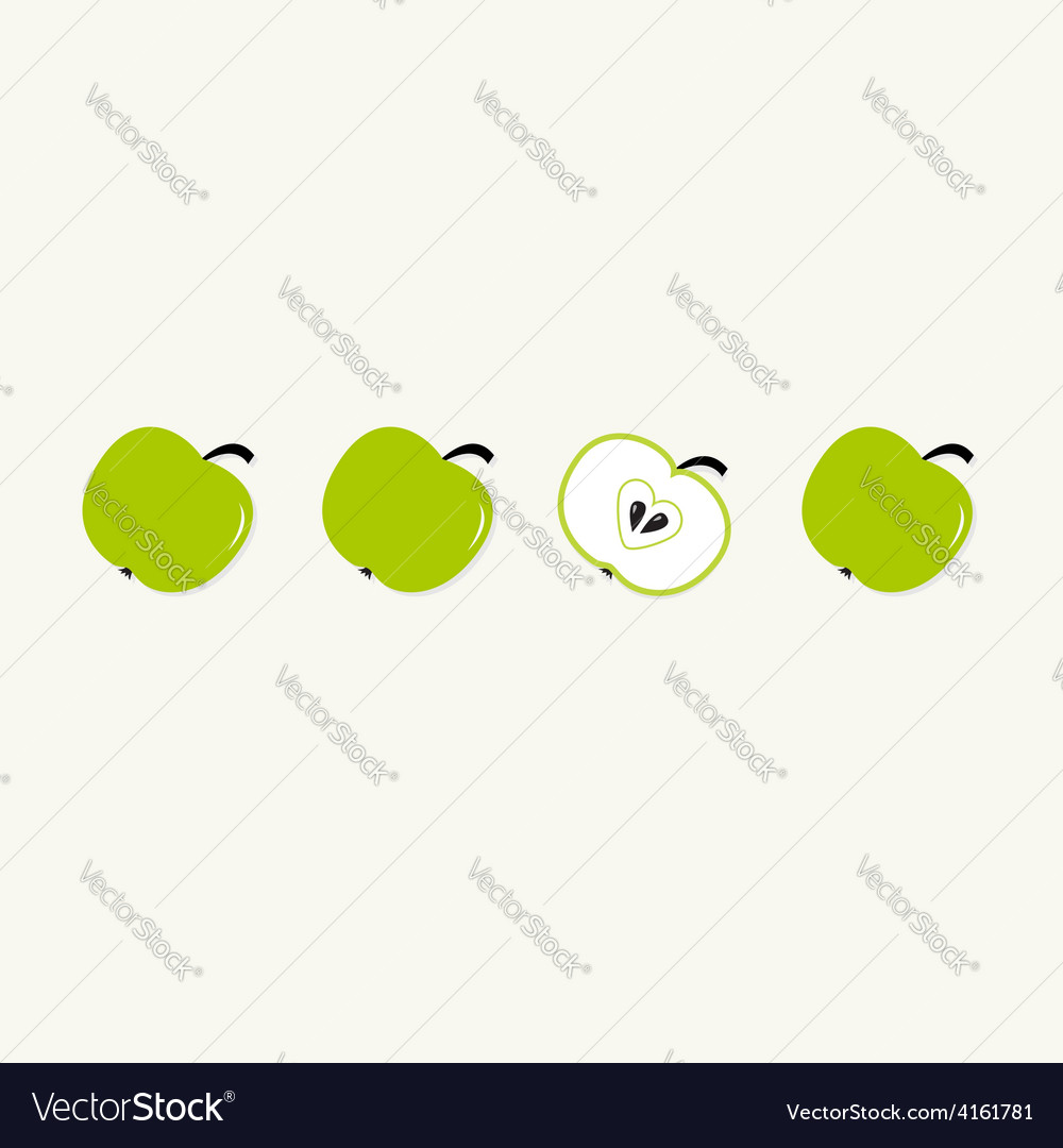 Green apple set in a row Whole and half with