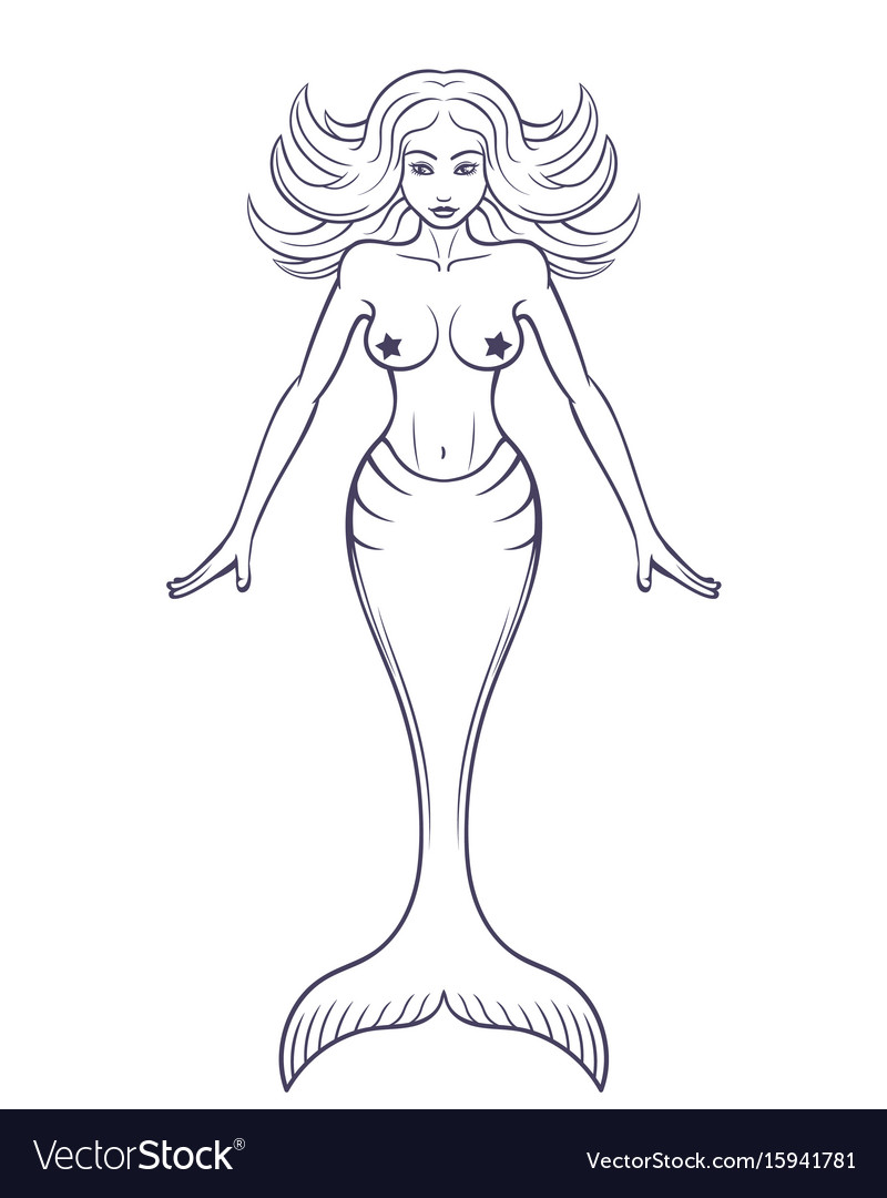 mermaid outline isolated over white royalty free vector