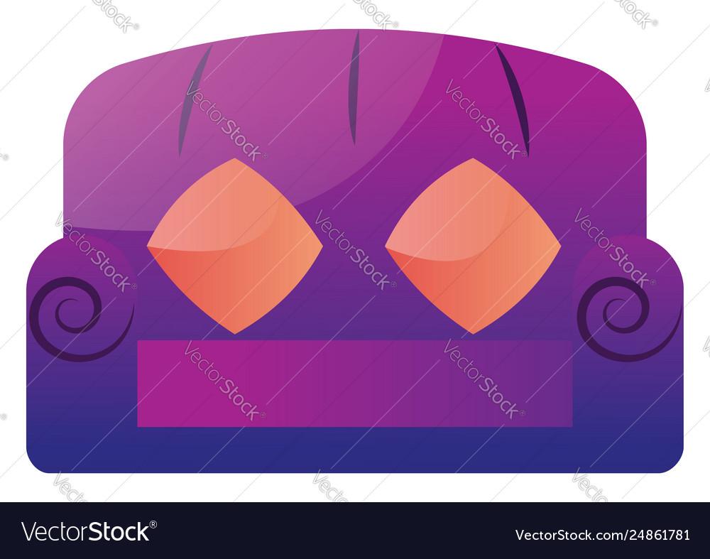 Purple sofa with two orange pillows on a white