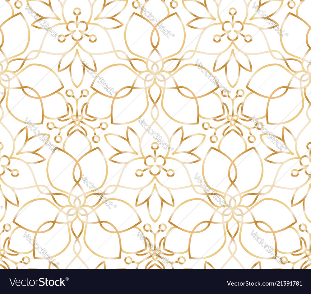 Seamless Golden Flower Pattern On White Background Vector Image