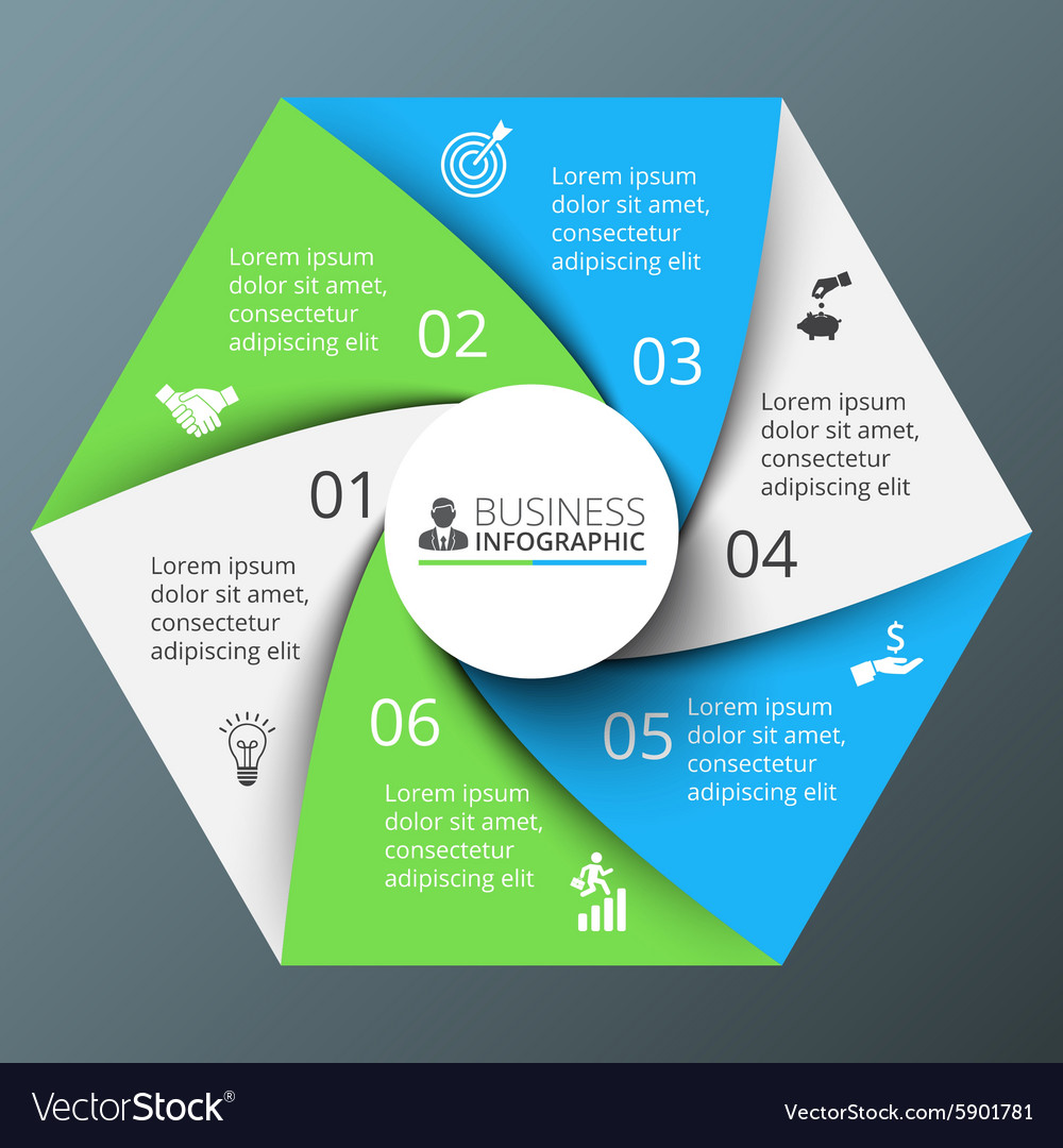 Spiral hexagon for infographic