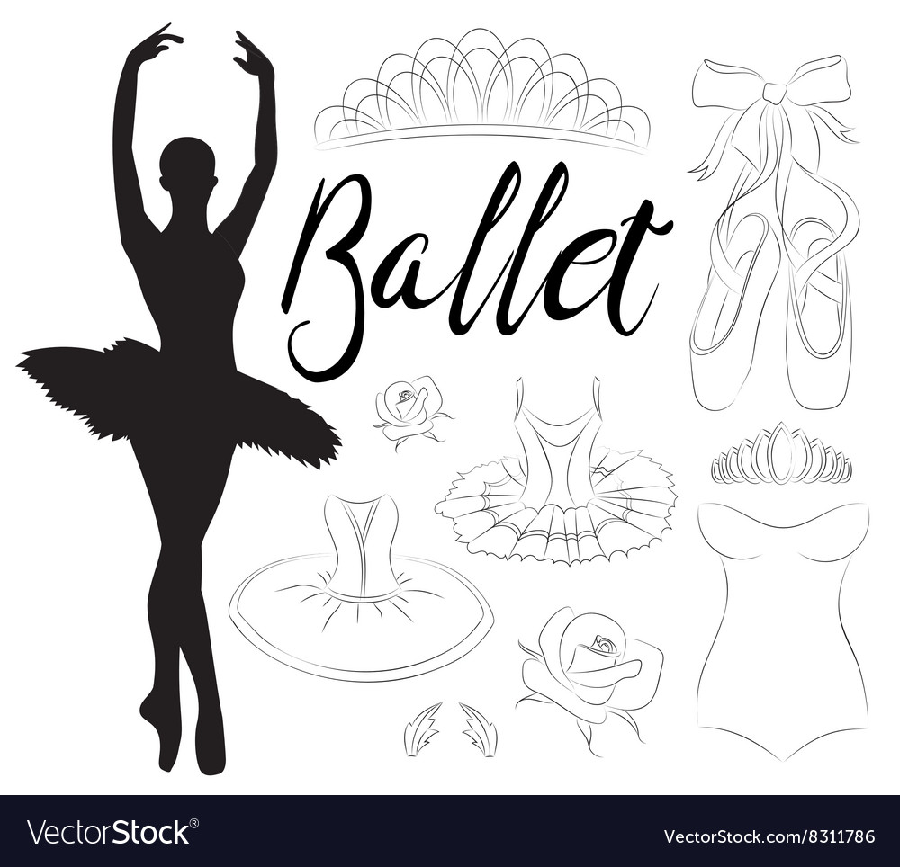 Ballet icon set vector image