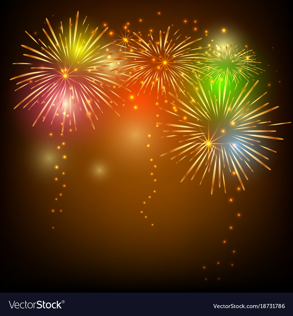 Colorful fireworks on black background for vector image