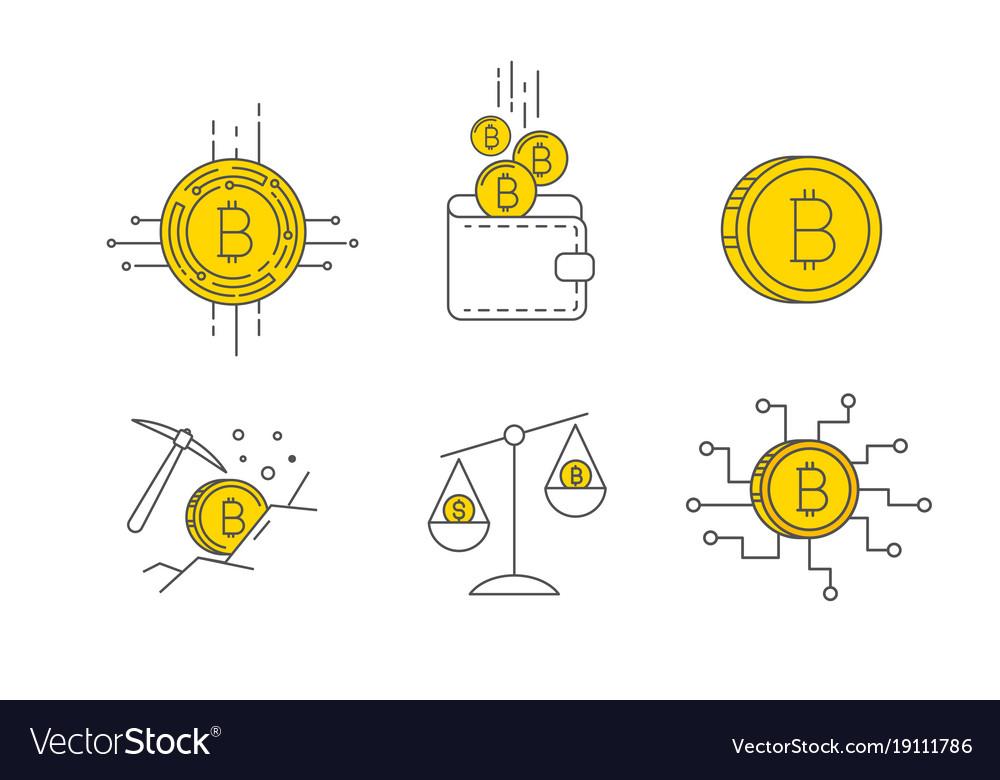 Digital gold bitcoin concept icon set