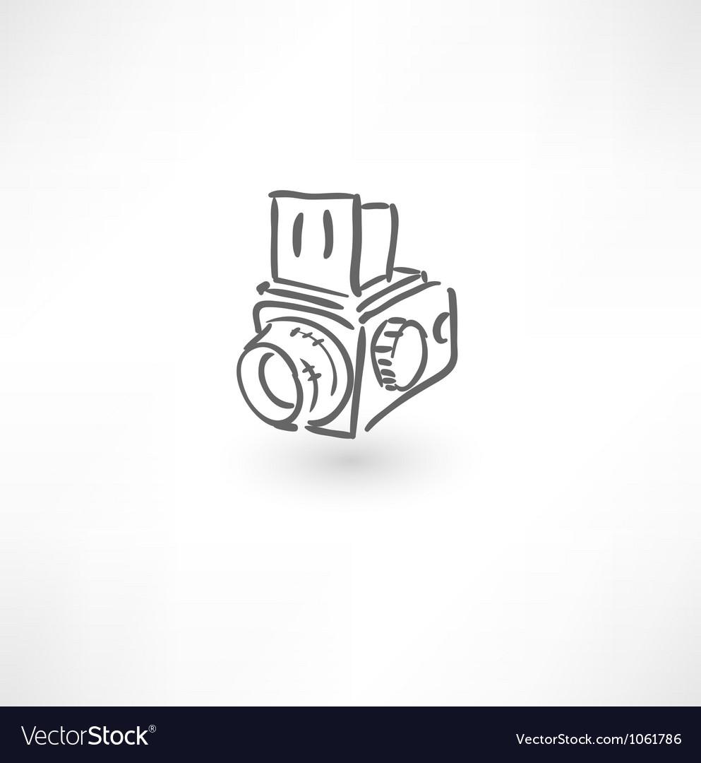 Hand drawn old camera icon vector image