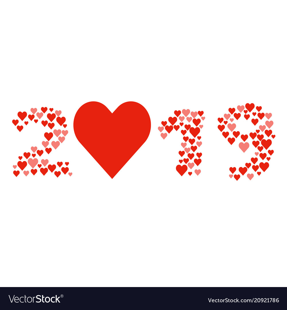 New year 2019 concept - heart shapes vector image