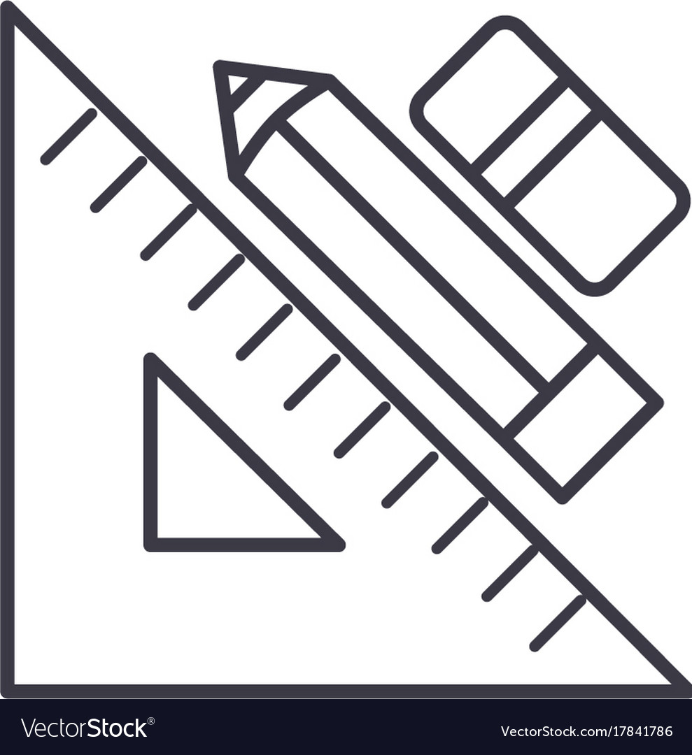 Rule pen and erasergraphic tools line icon
