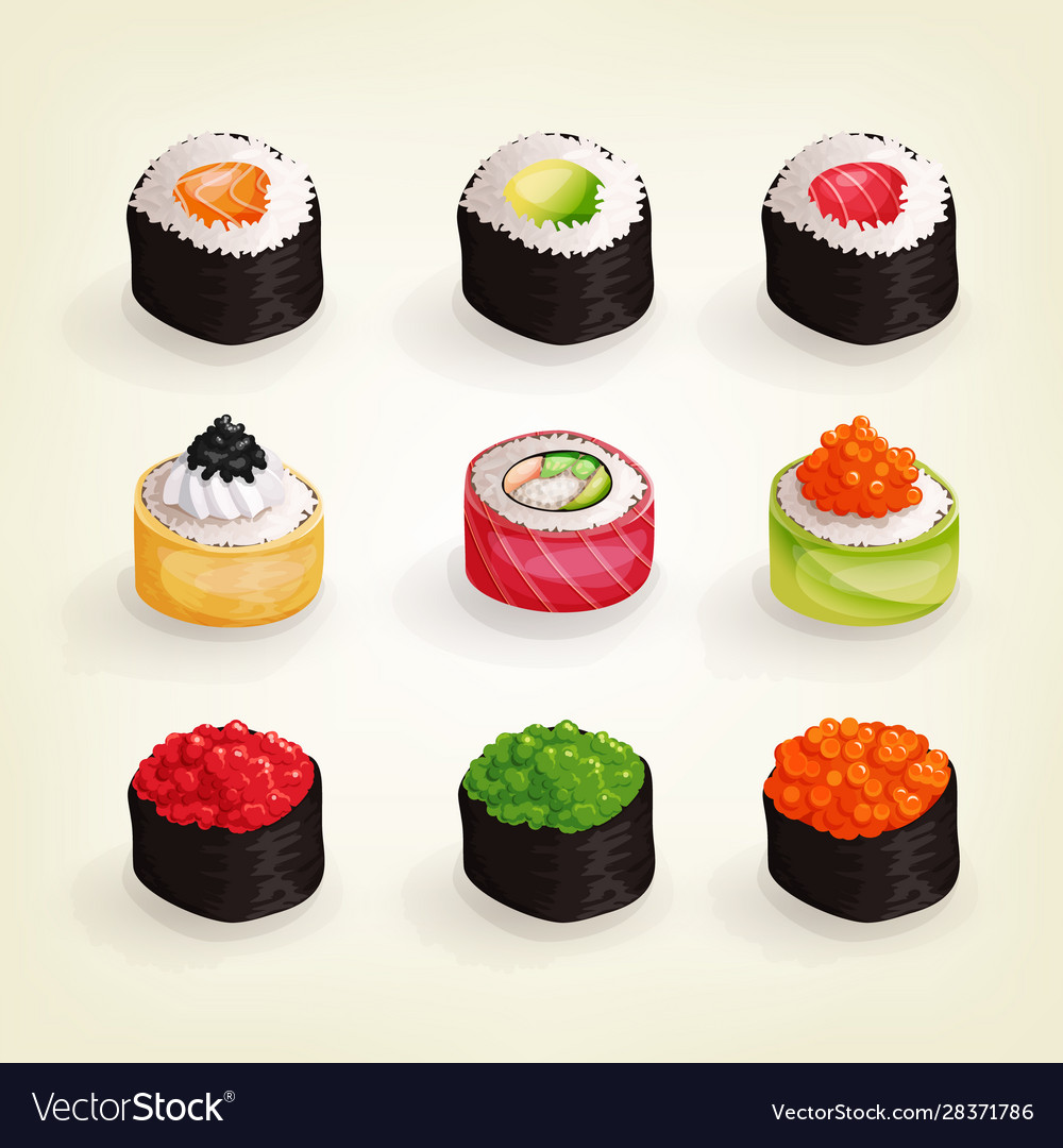 Set various fresh and delicious sushi rolls