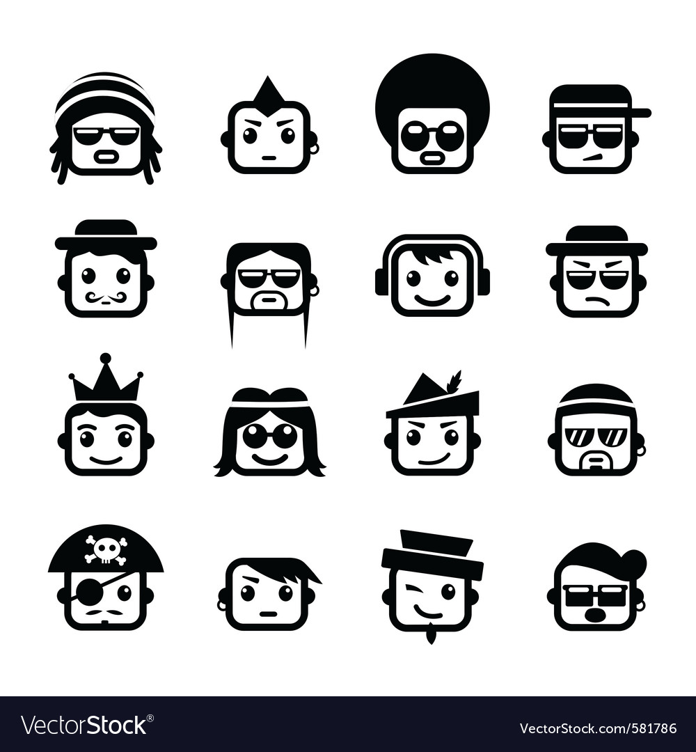 Smiley faces men characters vector