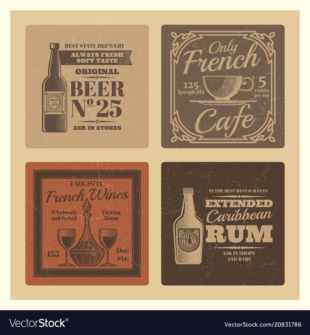 Vintage labels for cafe bar restaurant