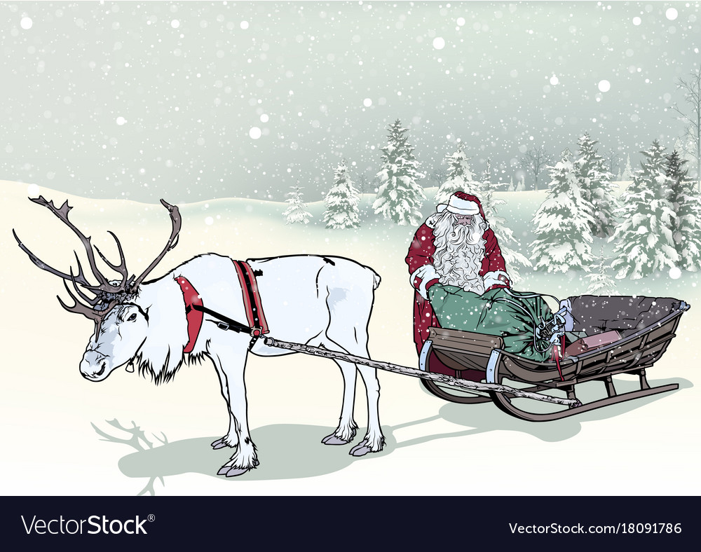 Winter landscape and santa claus with sledge