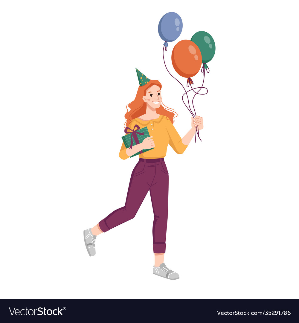 Woman with balloons gift and hat go on birthday