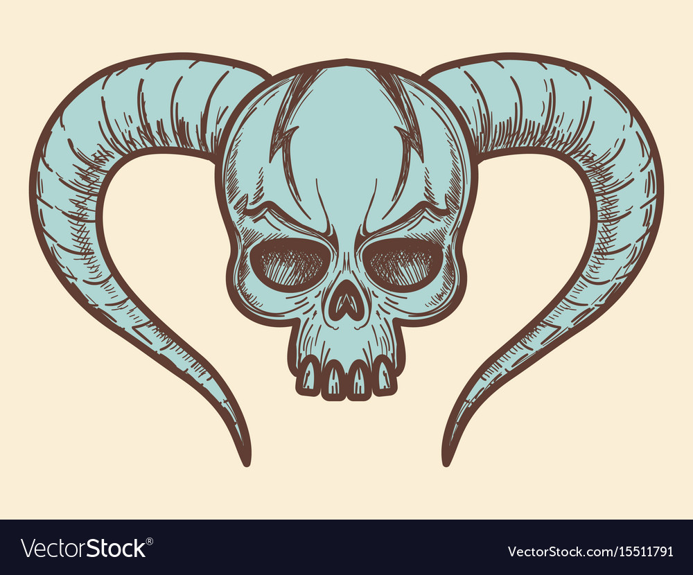 Aggressive Monsters Skull With Horns Royalty Free Vector