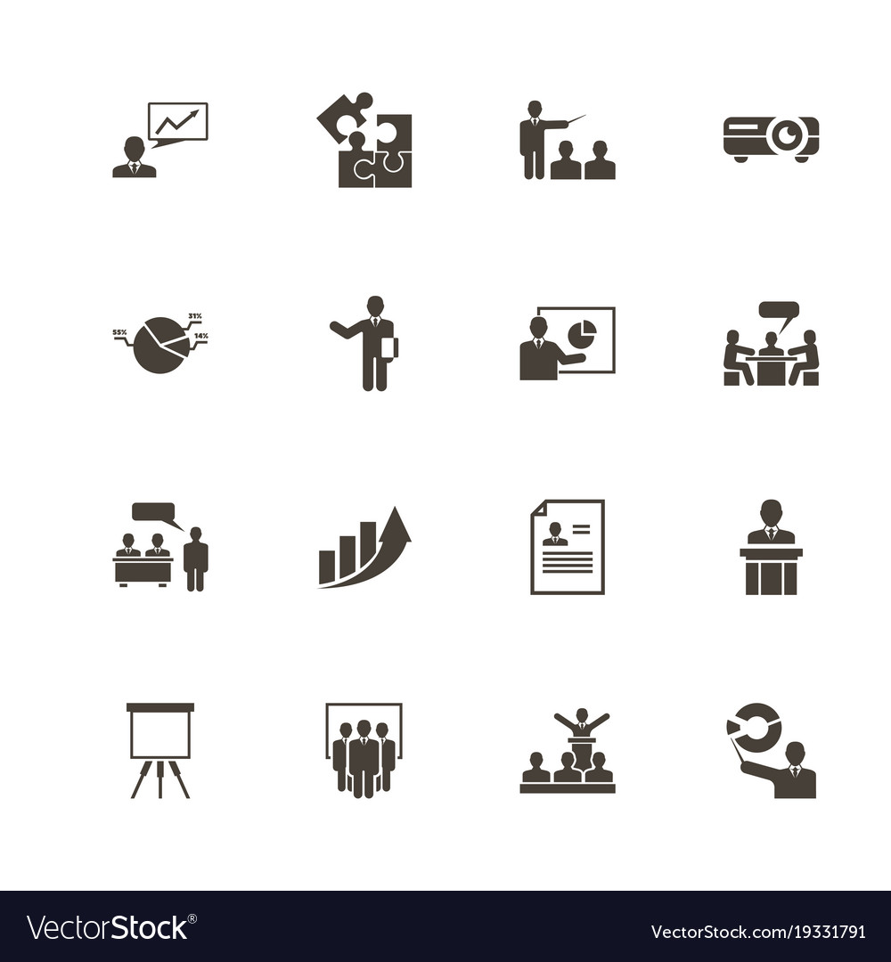 business presentation flat icons royalty free vector image