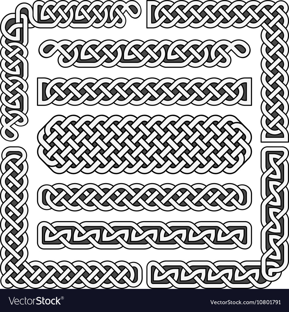 Celtic knots medieval seamless borders vector image