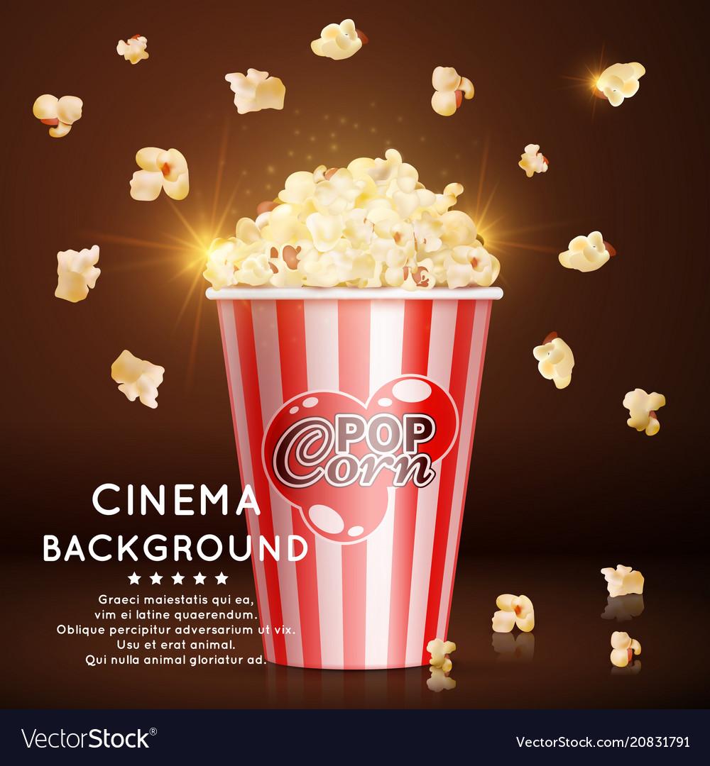 Cinema background with realistic popcorn
