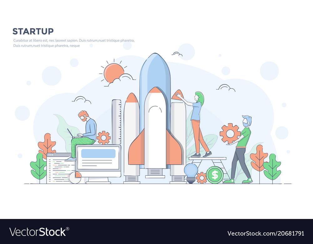 Flat line modern concept - startup