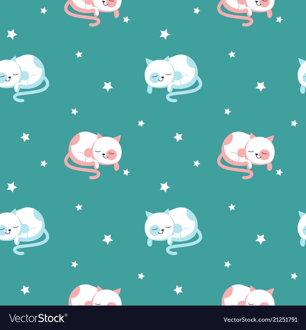 Funny sleeping cats seamless pattern