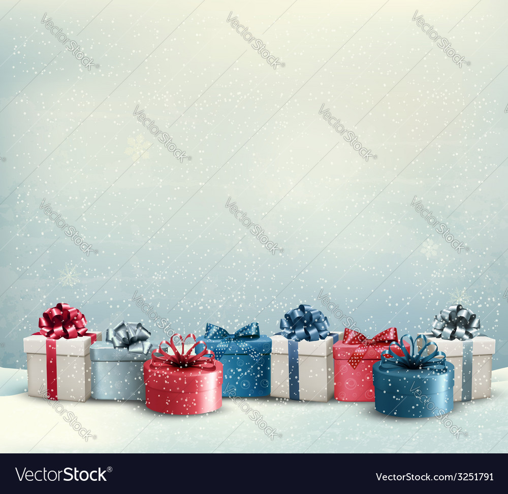 Holiday Christmas Background.Holiday Christmas Background With A Border Of Gift