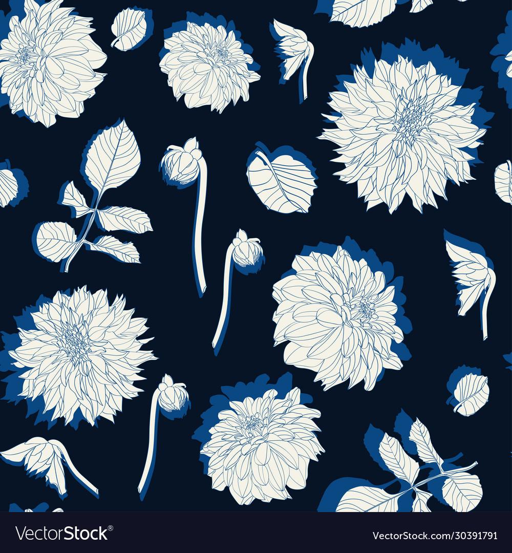 Pattern vintage colors line dahlia flowers