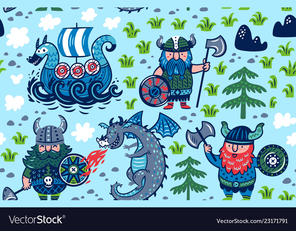 Seamless pattern with vikings ship and dragon in