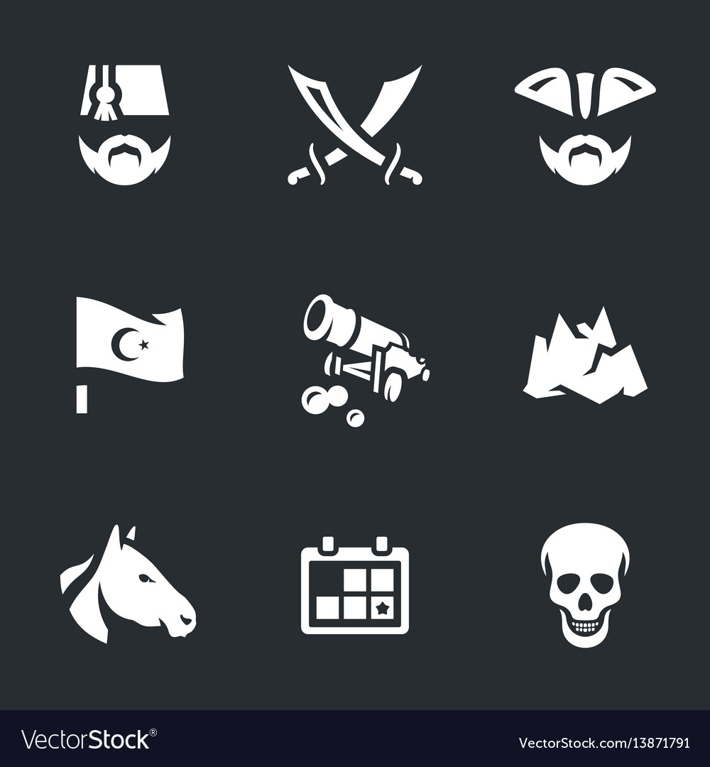 Set of russian turkish war 1877-1878 icons vector image