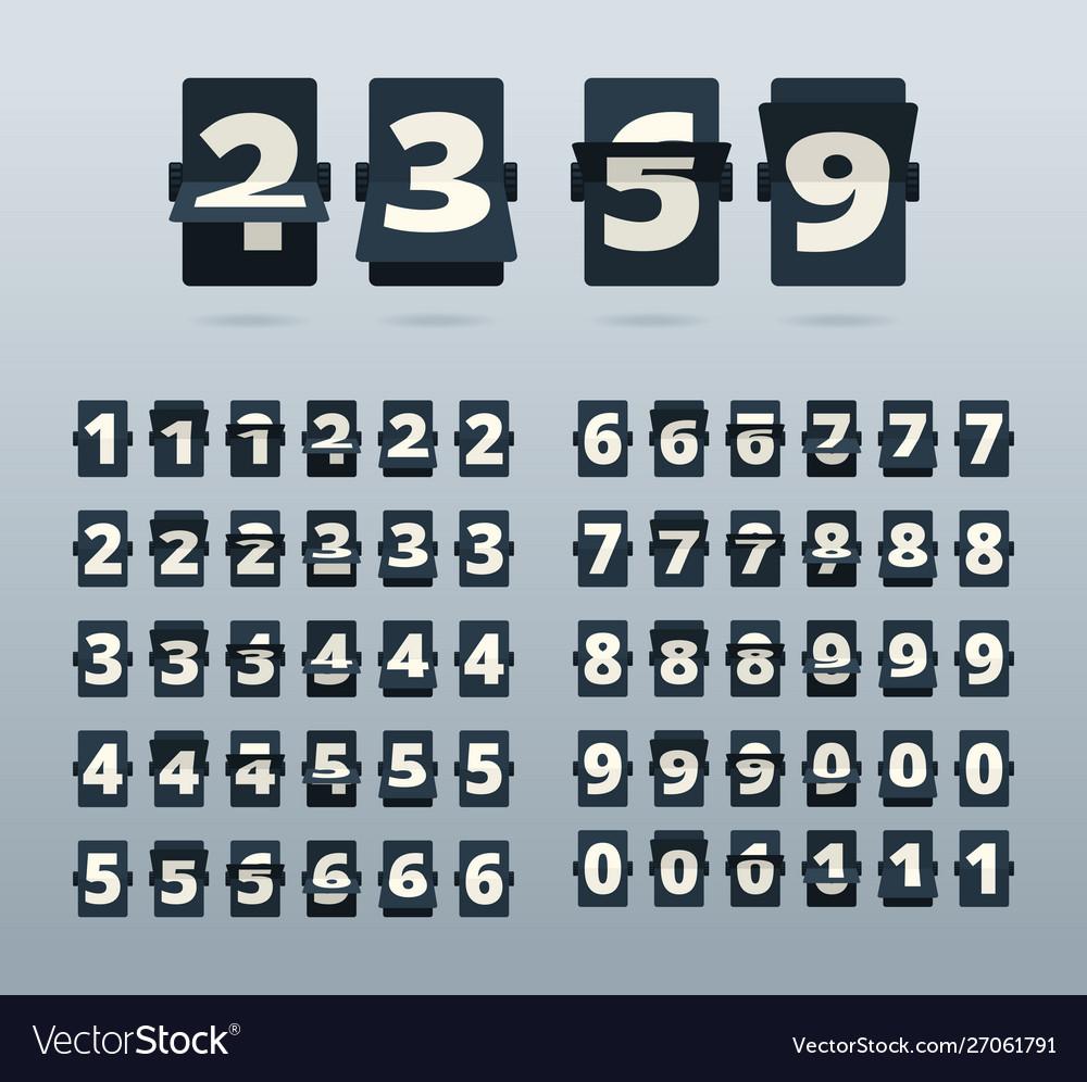 Time numbers flip clock template countdown