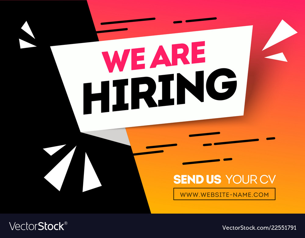 We are hiring recruitment design poster Royalty Free Vector