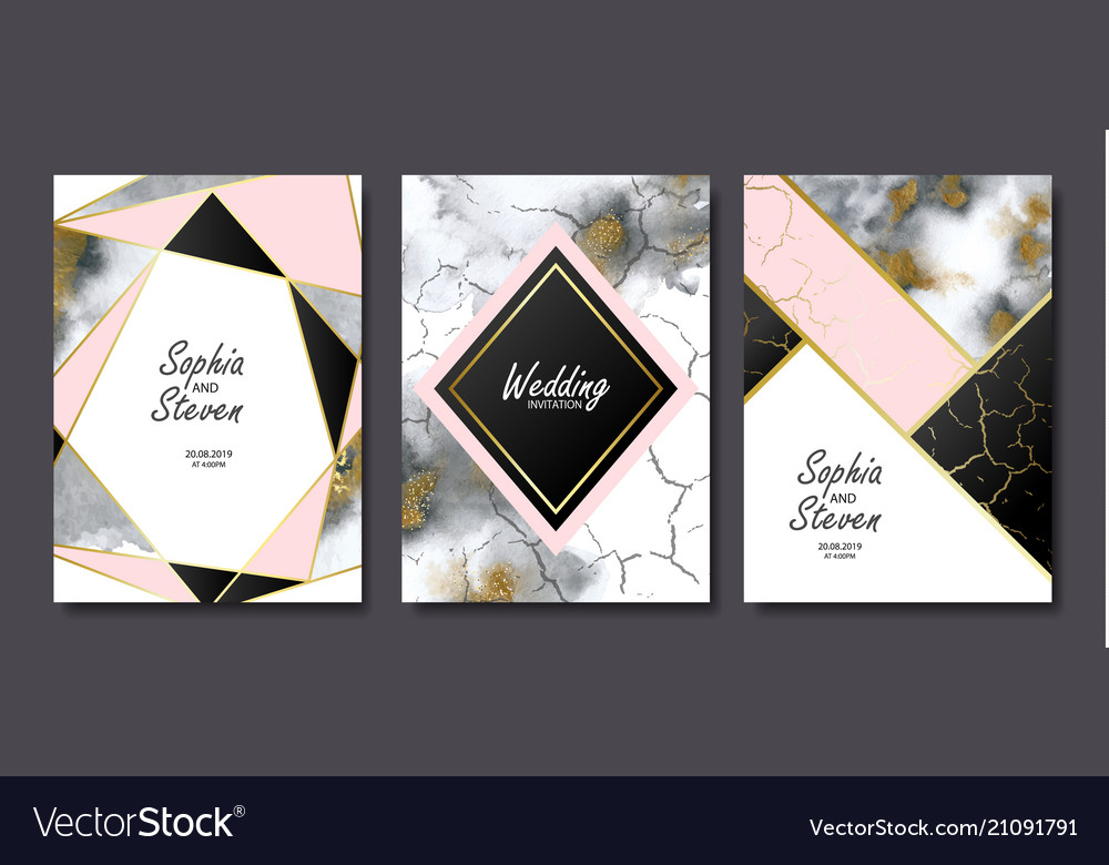 Wedding invitation cards with gold and grey marble