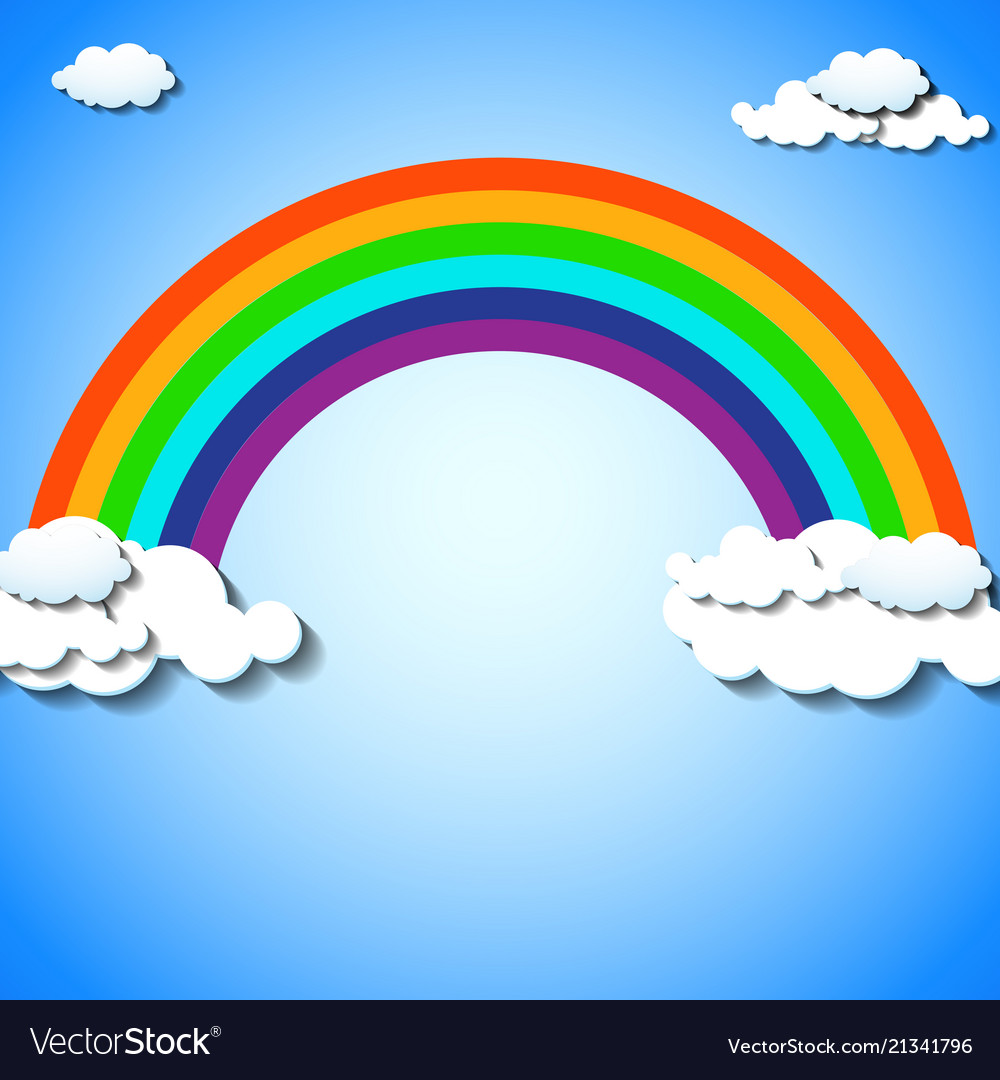 Abstract colorful rainbow with clouds