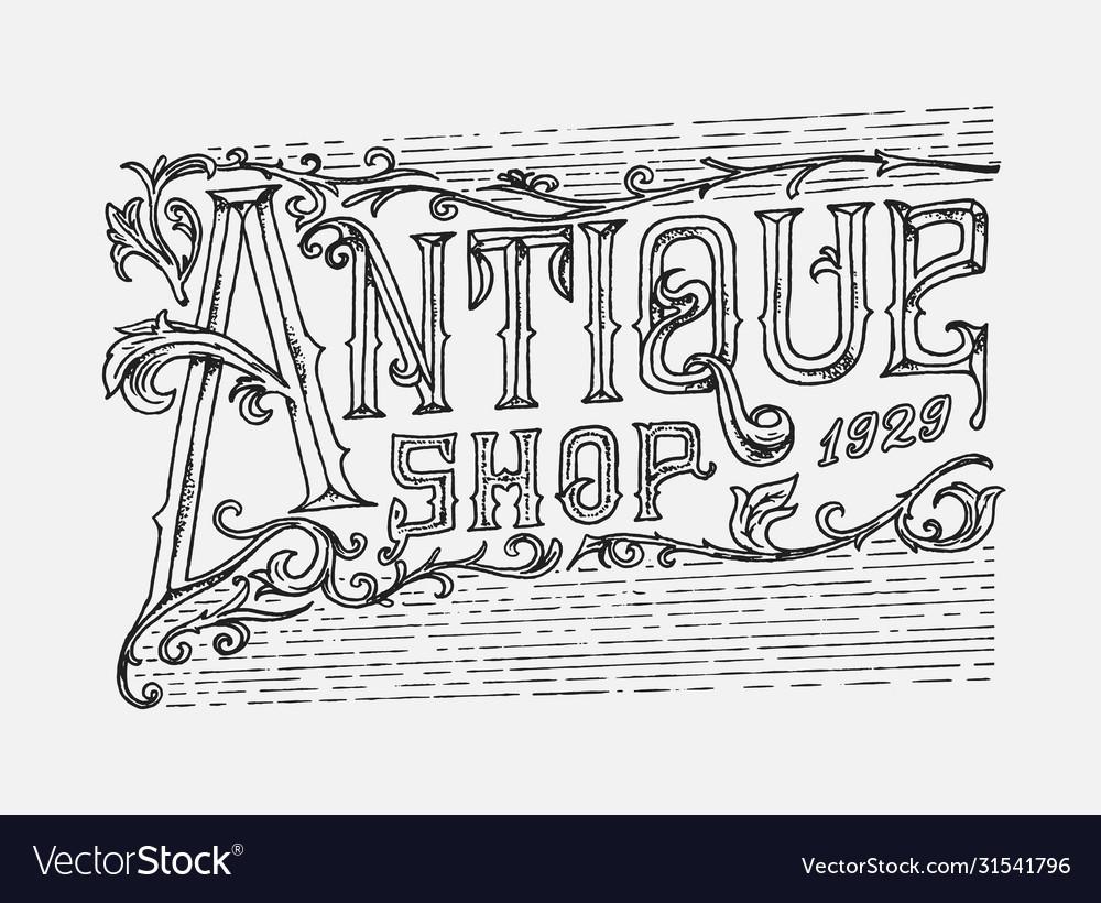 Antique frame label vintage card shop badge
