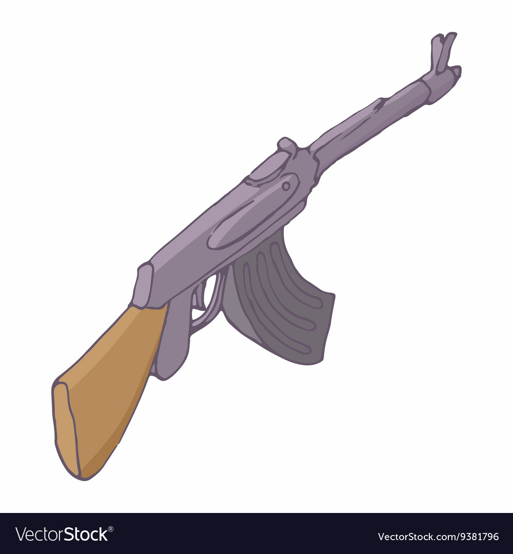 Automatic machine AK 47 icon cartoon style