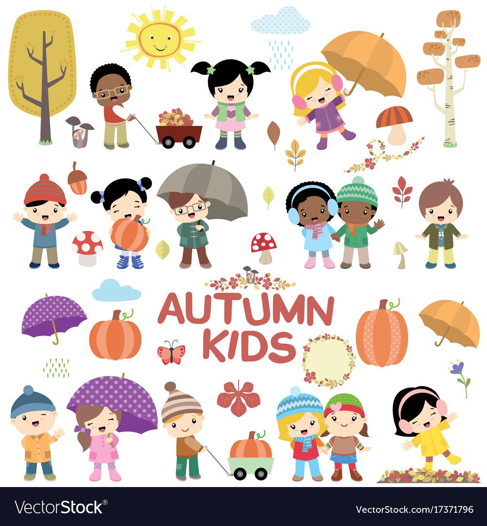 Autumn children design elements set