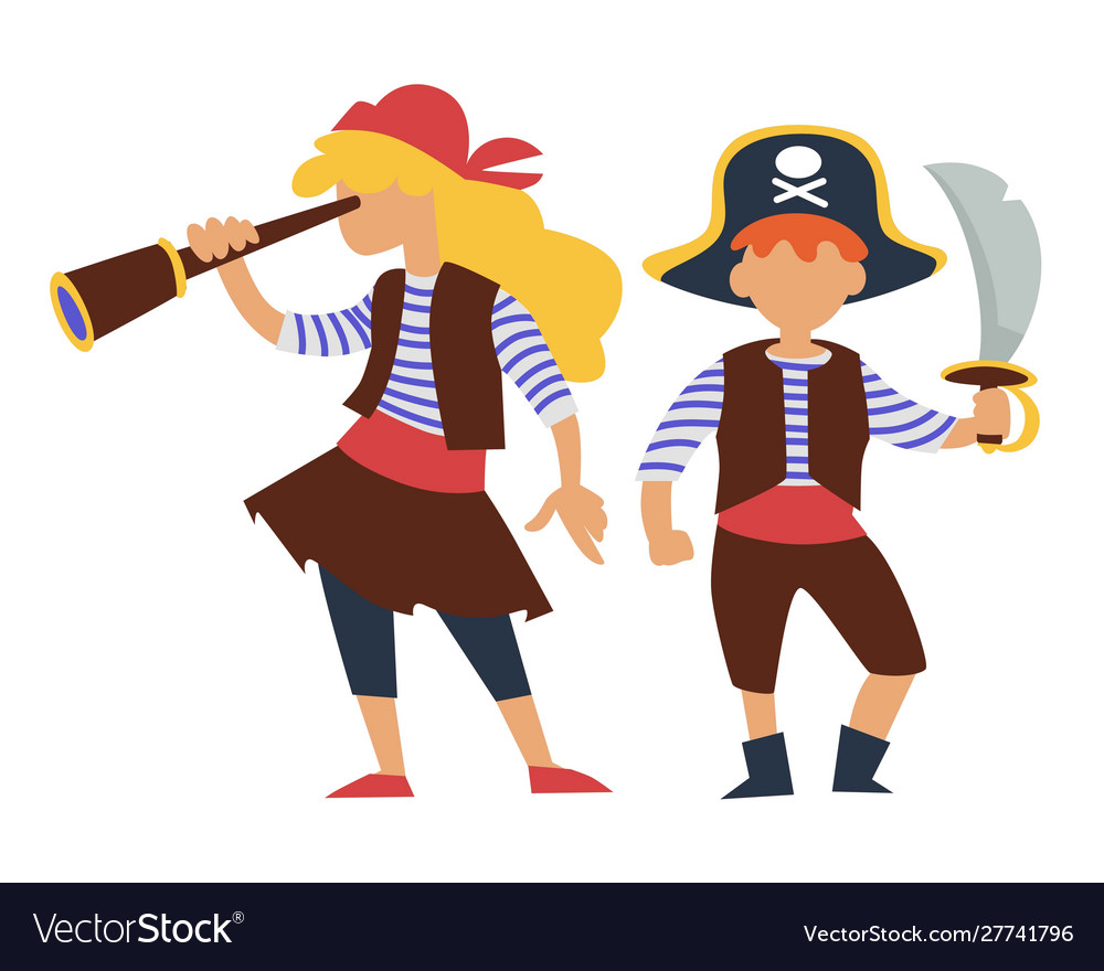 Children in pirates costume kids birthday party or