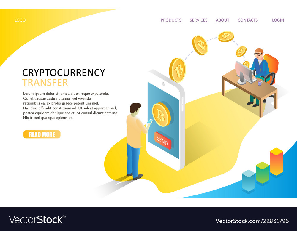 Cryptocurrency transfer landing page website