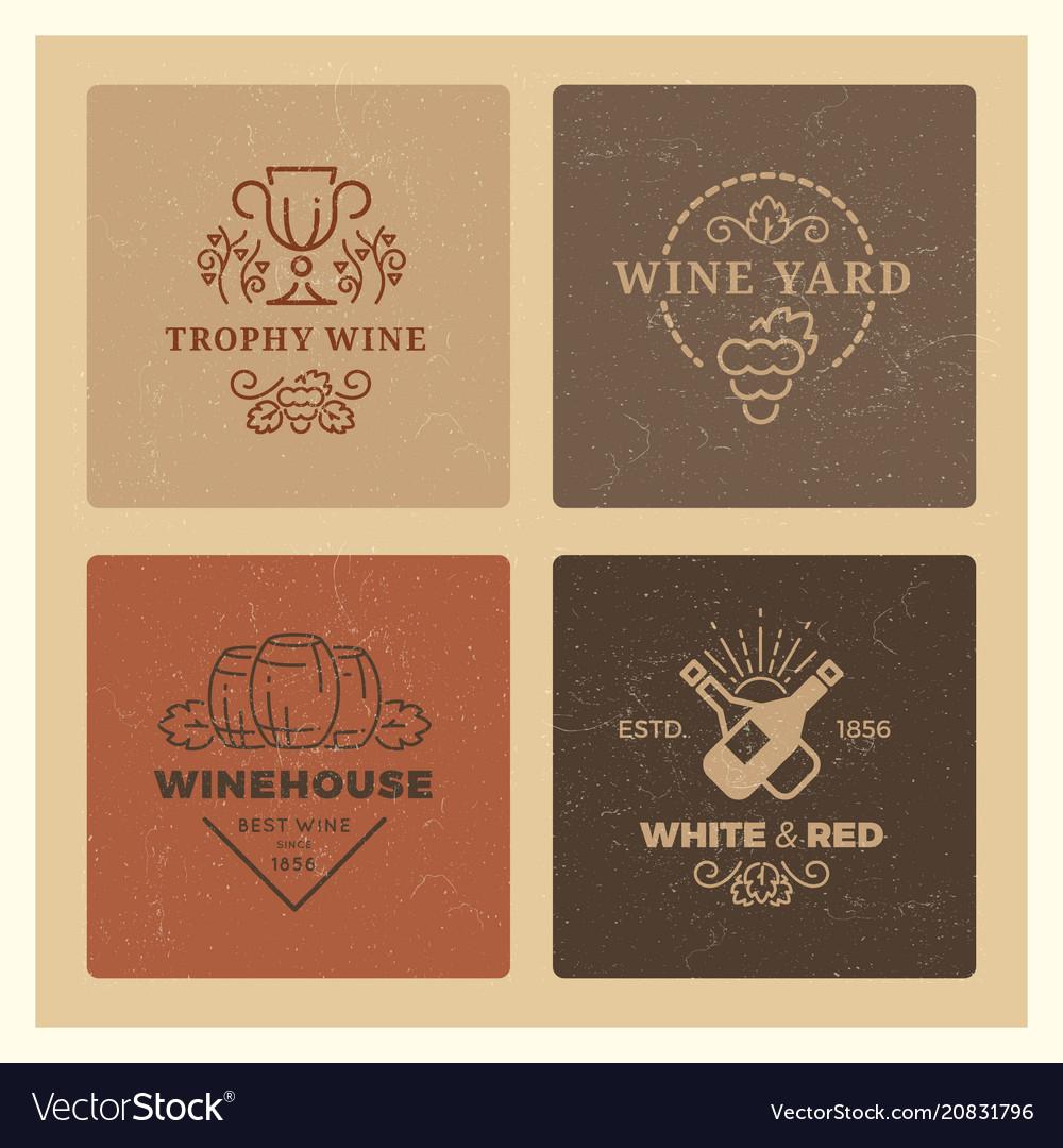 Grunge wine logos vintage hipster wine