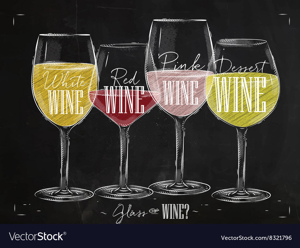 Poster types of wine chalk vector image