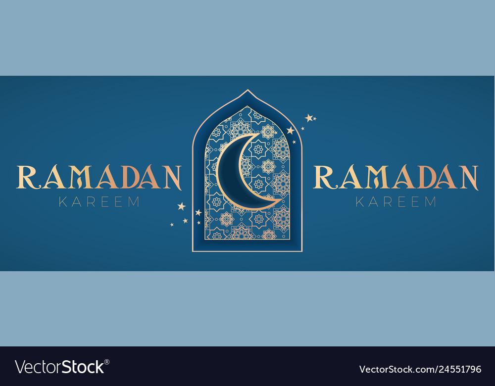 Ramadan kareem greeting with mosque door gold