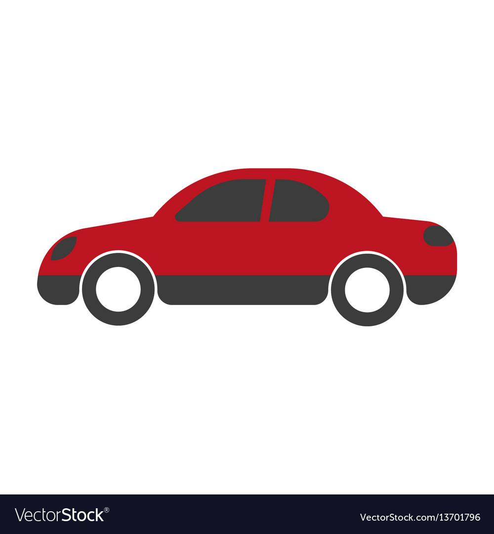 Red passenger car sedan close-up flat art design