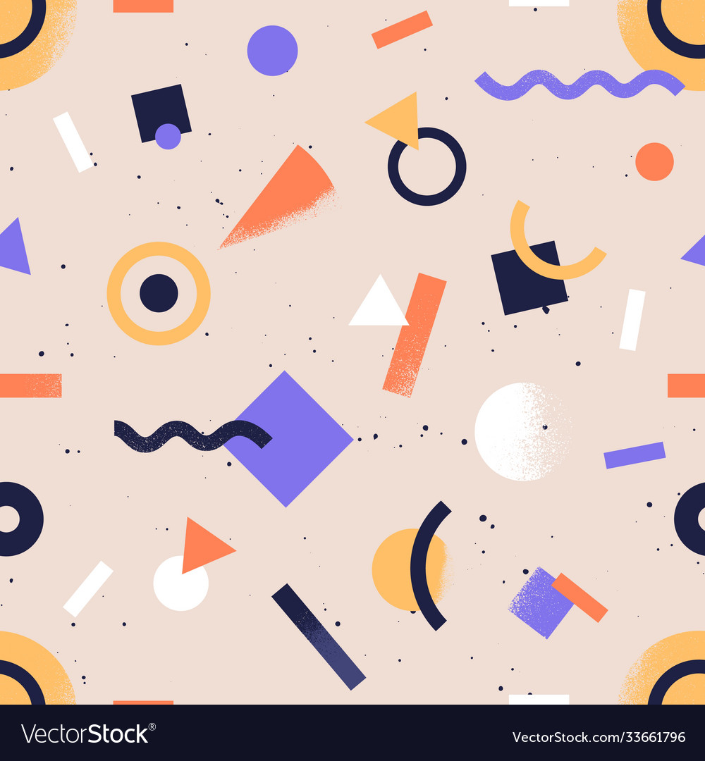 Seamless pattern with abstract geometrical shapes