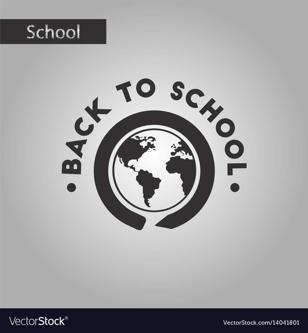 Black and white style icon back to school globe
