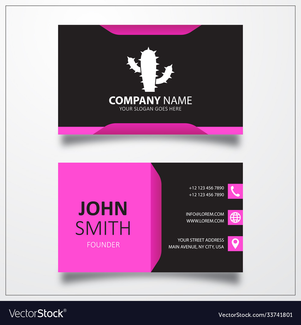 Cactus icon business card template