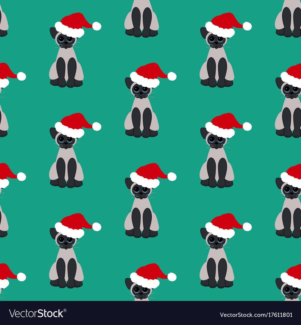 Cat in santa hat pattern vector image