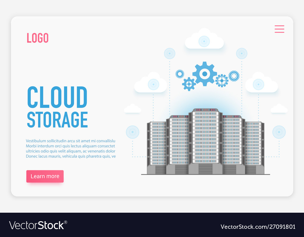 Cloud storage landing page template cloud