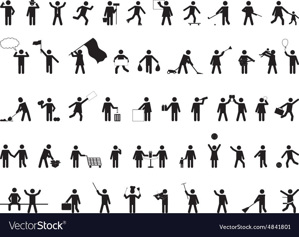 Common pictogram people activities vector image