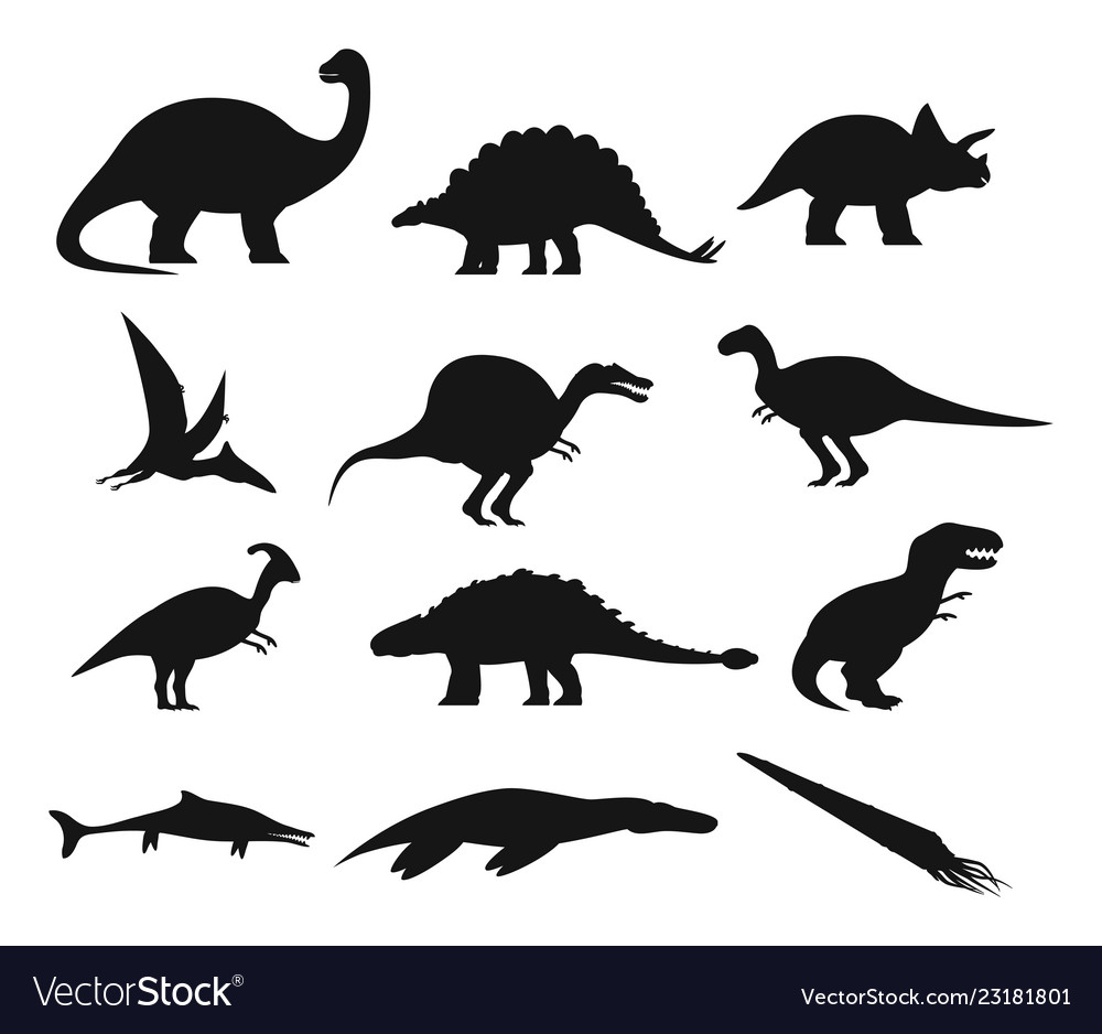 Contour Or Outline Of Ancient Dinosaurus Or Dino Vector Image