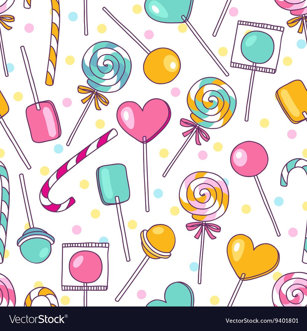 Doodle lollipops pattern Bright sweet food